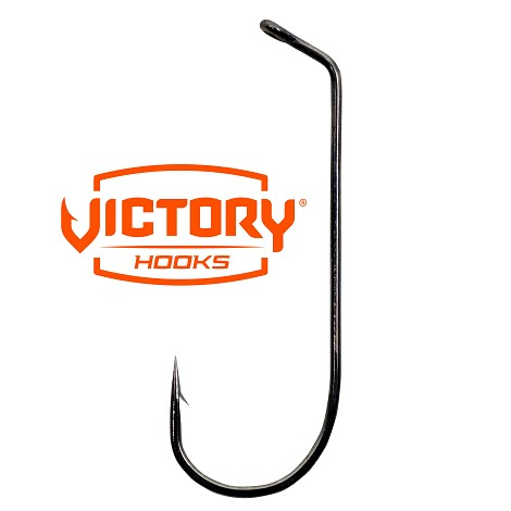 Victory 10798 60° Flat Eye Jig Hook<br>Black Nickle (100)